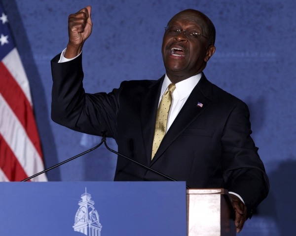 Republican presidential candidate Herman Cain speaks at Hillsdale College in Hillsdale, Mich., Tuesday, Nov. 29, 2011.