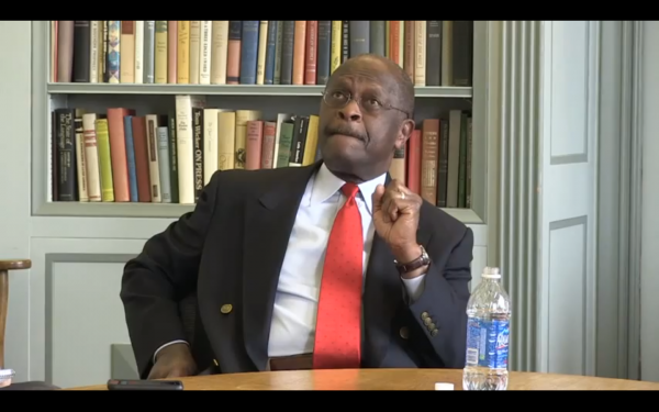 Herman Cain speaking to the Milwaukee Journal Sentinel