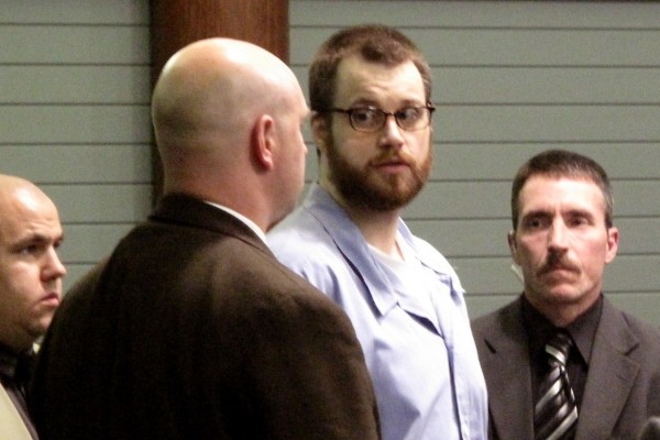 Michael Chasse is seen in the courtroom surrounded by security personnel at Knox County Superior Court in Rockland in Aug. 2010. Chasse was found guilty of 11 charges by the jury stemming from a hostage situation in 2008.