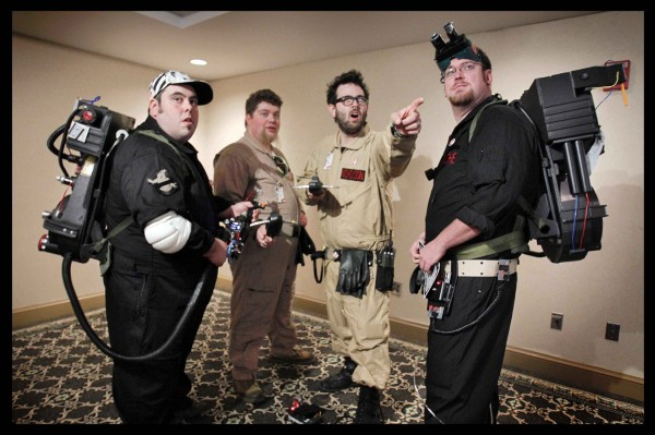 Ghostbuster fans Juston Hammer (from left) of Rumford, Ryder Wood of Shapleigh, Cory Nicholson of Portland, and Dwight Blache of Westbrook, arrive at the Coast City Comicon in Portland last Saturday. &quotFind us on Facebook at 'MaineGhostbusters' for all your paranormal eliminations,&quot said Hammer.