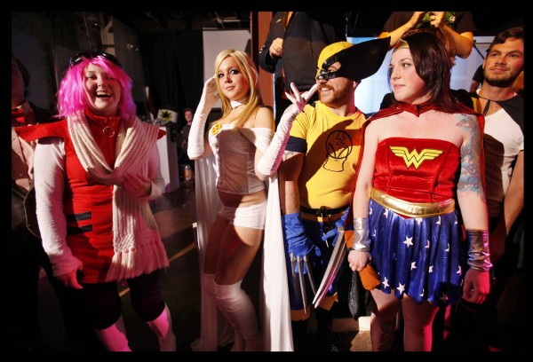 Contestants line up for a costume contest at last Friday's Nerd Rave at SPACE Gallery.