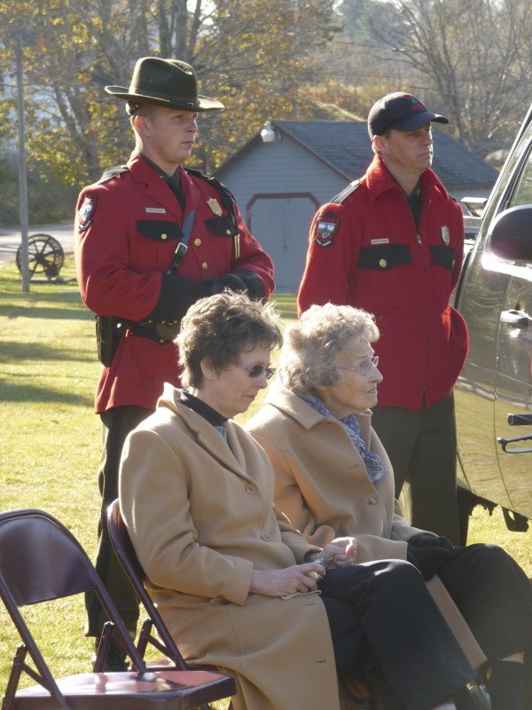Flora Hill Dennison, 89, of Whiting, and her daughter Stephanie Larrabee of Machias attended a moving tribute Tuesday for Dennison's grandfather, Lyman Hill, and his cousin, Charles Niles, who were the first Maine Game Wardens killed in the line of duty, 125 years ago. The men were shot down as they attempted to stop a pair of poachers from illegally using a dog to hunt deer on Nov. 8, 1886.