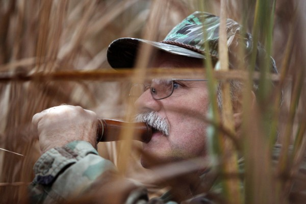Andy Guerette tries to call in ducks while hidden in the reeds along the Kennebec River in Bath.