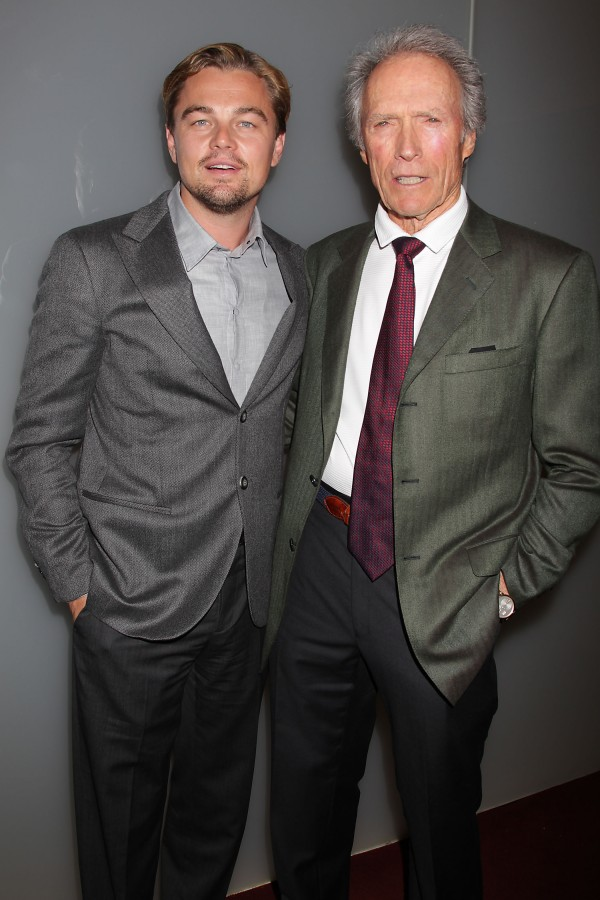 In this image taken Monday, Nov. 7, 2011, actor Leonardo DiCaprio poses with director Clint Eastwood at a private screening of their film, &quotJ. Edgar,&quot at the Time Warner Screening Room in New York.