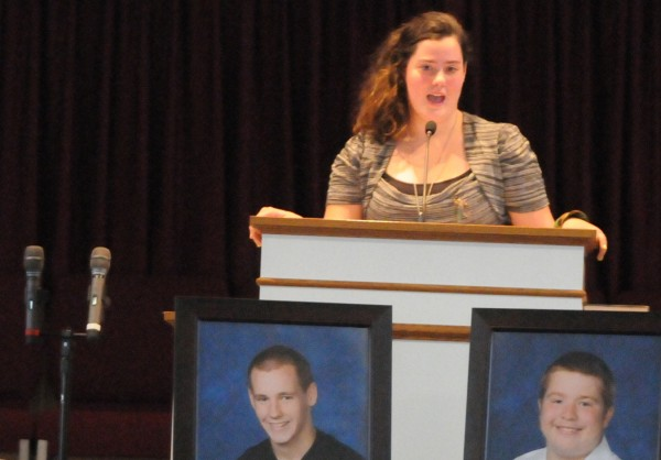 Kailee Dunton shares fond memories of Hermon High school classmate and close friend Richard A. Picken (pictured at bottom, right) at Hermon Baptist Church Saturday, Nov. 12, 2011.
