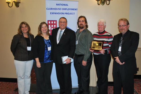 Gov. Paul LePage with members and staff of the High Hopes Clubhouse in Waterville at the National Employment Expasion Project in Washington, D.C., on Wednesday.