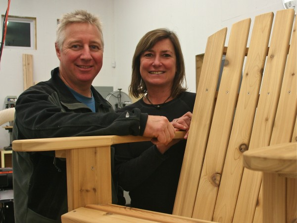 At FairCape Woodworks in Rockport, Clive and Odi Brown craft a full line of updated Adirondack-style furniture.