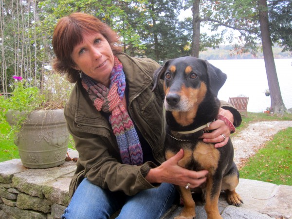 Barbara and her dog, Jack, at her home in Winthrop, Maine.