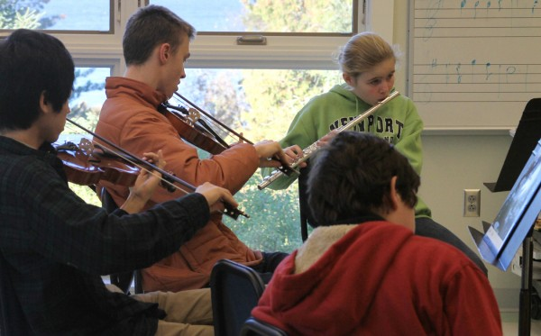 John Oldham's high school music class on Isleboro.