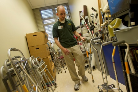 Brian Riscignois regaining his gait now with a new functional electrical stimulator (FES) that straps to his leg and sends signals to his nerves to lift his foot.
