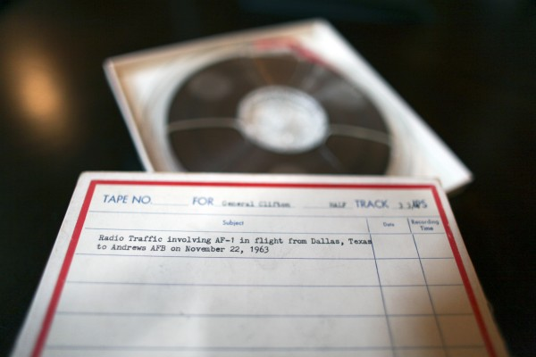 Shown Wednesday Nov. 9, 2011, in Philadelphia, are recently discovered White House communications tapes made in the immediate aftermath of President John F. Kennedy's assassination involving Air Force One in flight from Dallas on November 22, 1963.