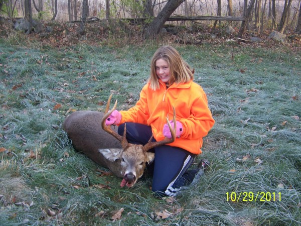 Maci Leali, 10, of Palmyra poses with the 9-point, 208-pound deer she shot on her first day of deer hunting Oct. 29. Leali was hunting with her father, Andy Leali.