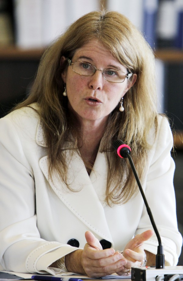 Commissioner of Health and Human Services Mary Mayhew speaks at a hearing in Augusta in October 2011.