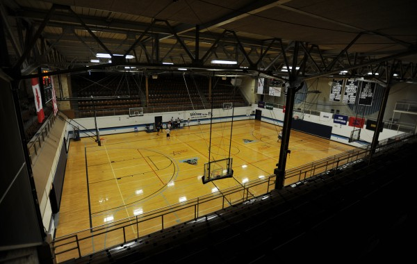 The basketball court at the University of Maine's Memorial Gym as seen in April 2010. The court is also known as &quotThe Pit&quot because of its design.