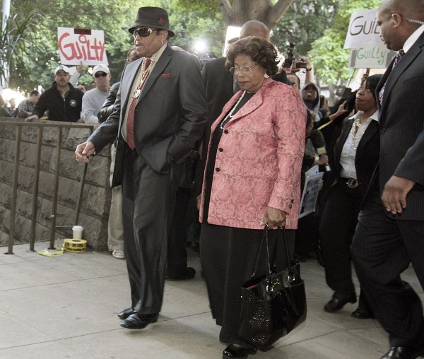 Michael Jackson's parents, Joe and Katherine Jackson, arrive at the courthouse after it was announced that jurors had reached a verdict in the involuntary manslaughter trial of Dr. Conrad Murray, Michael Jackson's physician when the pop star died in 2009, at the Criminal Justice Center in downtown Los Angeles, Monday, Nov. 7, 2011.