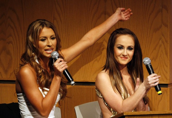 Ashley Underwood  (left) from the CBS show &quotSurvivor&quot and Ashley Hebert from the ABC show &quotThe Bachelorette,&quot host the annual Miss Maine USA and Miss Maine Teen USA Pageant, Sunday, Nov. 20, 2011, in Westbrook.
