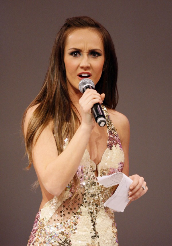 Ashley Hebert from the ABC show &quotThe Bachelorette&quot co-hosts the annual Miss Maine USA and Miss Maine Teen USA Pageant, Sunday, Nov. 20, 2011, in Westbrook.