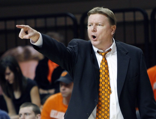 Oklahoma State women's basketball coach Kurt Budke gesturing to his players during a basketball game against Kansas, in Stillwater, Okla., on Feb. 23, 2011. Budke and his assistant Miranda Serna died in a plane crash Thursday afternoon, Nov. 17, 2011 in the Winona Wildlife Management Area near Perryville, about 45 miles west of Little Rock.