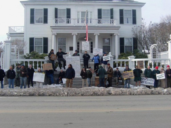 Occupy Augusta protesters gather in front of the Blaine House.