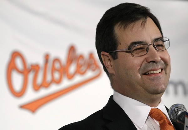 Dan Duquette, the Baltimore Orioles' newly-announced executive vice president of baseball operations, speaks during a news conference in Baltimore, Tuesday, Nov. 8, 2011.