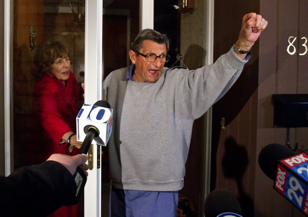 Penn State coach Joe Paterno and his wife Sue on the front porch of their house, address students. The students yelled &quotWe Are Penn State&quot and Paterno responded, &quotYes we are!&quot