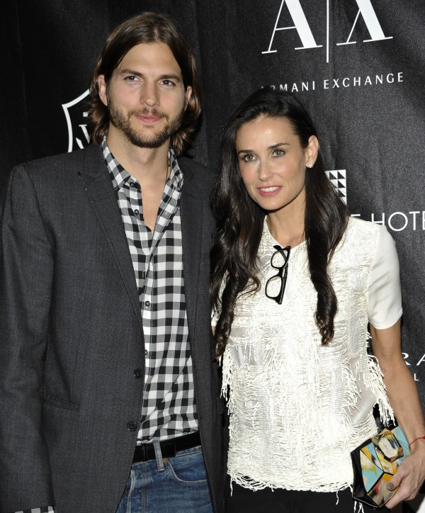 Actors Ashton Kutcher and Demi Moore attend the first annual Stephan Weiss Apple Awards at the Urban Zen Center in New York on June 9, 2011.