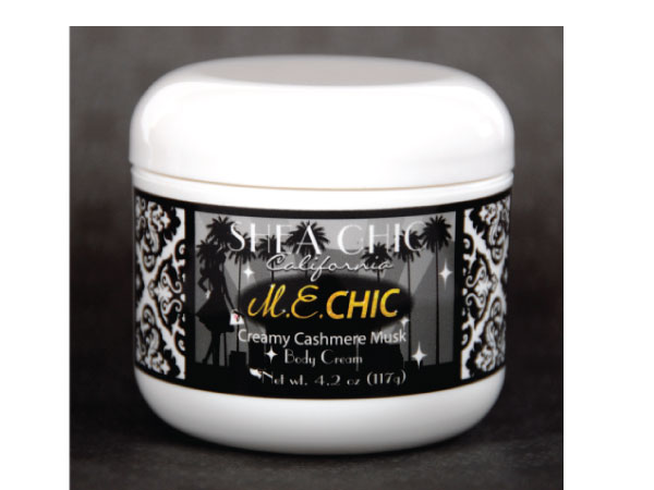Shea Chic &quotM.E. CHIC&quot cream that was created by Maine native April Leffingwell for the 2011 News & Documentary Emmy Awards.