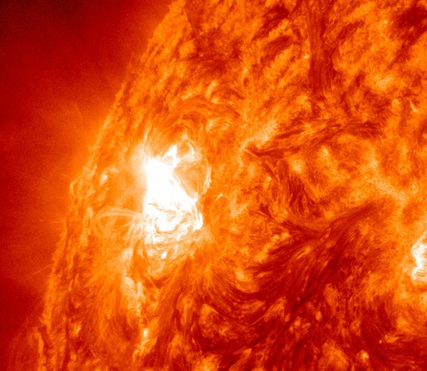 Giant sun spot activity is shown Thursday, Nov. 3, 2011, from a region on the sun that scientists are calling a &quotbenevolent monster