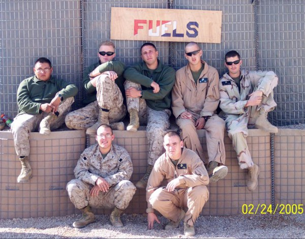 Jose Guerena Ortiz (front row on left) is shown in this 2005 handout photo provided by fellow Marine William Moore while deployed at Camp Korean Village FOB  with Marine Wing Support Squadron 371. Guerena was shot and killed at his house in Tucson, Ariz. May 5, 2011 by the Pima County Sheriff's Department.