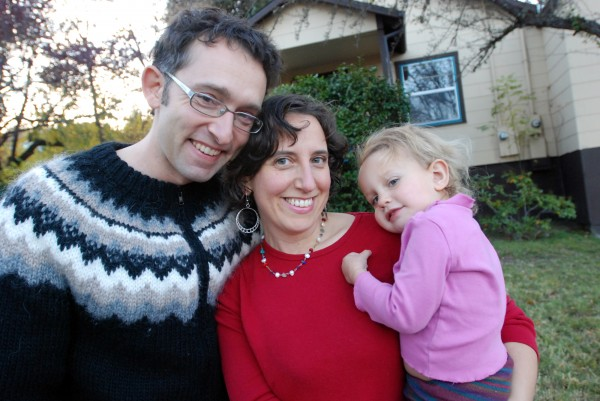 Jennifer Margulis poses outside her home in Ashland, Ore., with her husband, James Di Properzio and their daughter, Leone, 2, on Nov. 14, 2011. Margulis and Di Properzio are among a growing number of parents questioning the government schedule of mandated vaccines for children.