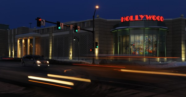 Traffic zooms past Hollywood Slots on Main Street in Bangor in February 2009.