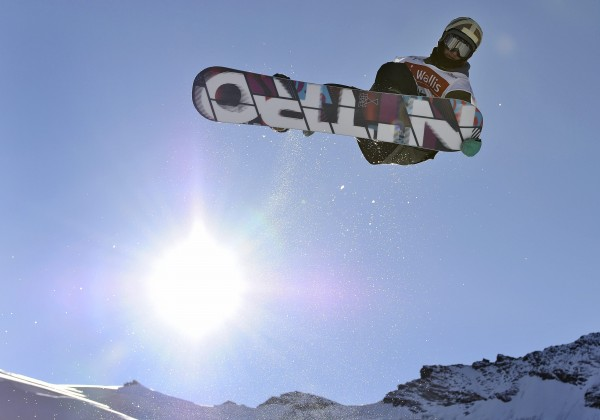 Patrick Burgener of Switzerland competes during the qualification of the men's Snowboard Half-Pipe FIS World Cup 2011 event on the Allalin glacier in Saas-Fee, Switzerland on Wednesday, Nov. 2, 2011.