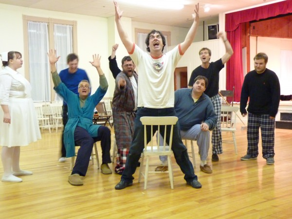 "The cast of ""One Flew Over the Cuckoo's Nest"" rehearses in Eddington."