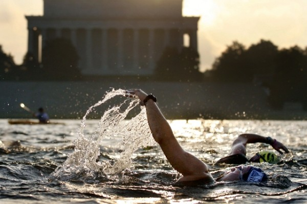 Is panic the underlying cause in deaths of triathlon swimmers? The Nation's Triathlon in Washington usually includes a swim in the Potomac within sight of the Lincoln Memorial.