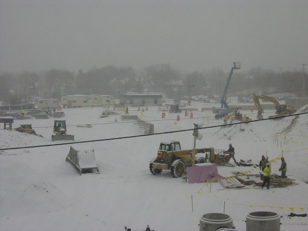 Work on the new Bangor arena continues despite the snow.