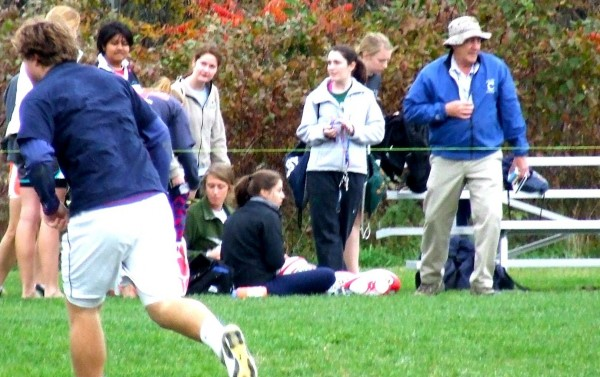 State dam inspector Tony Fletcher coaching the Colby College mens' and womens' rugby teams on Wednesday, Oct. 12 in Waterville.
