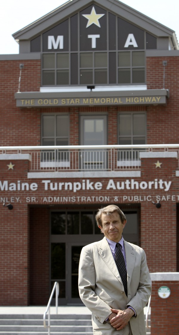 Peter Mills, acting executive director of the Maine Turnpike Authority, stands by the facility in Portland on June 1, 2011. Mills has been on the job for less than three months and has taken away credit cards from employees, changed the bidding process on contracts and sees much more to be done at the agency that oversees the 109-mile Maine Turnpike.
