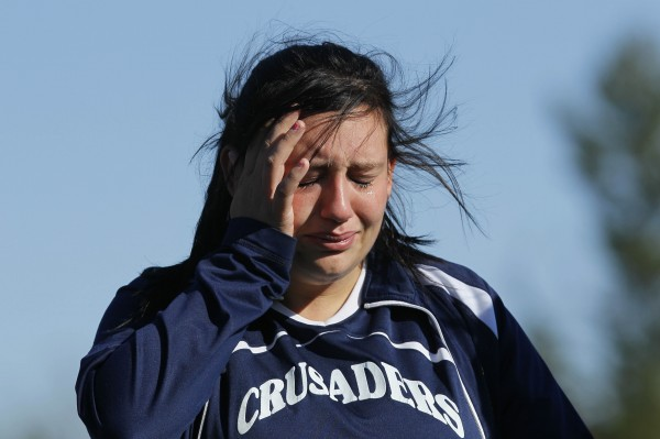 Van Buren's Nicole Lyons wipes away tears after the Crusaders' loss to Richmond in the Class D soccer state championship in Falmouth on Saturday, Nov. 5, 2011.