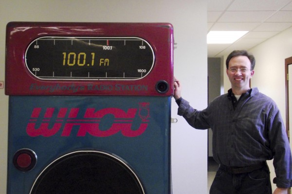 Fred Grant, the new owner of WHOU 100.1 FM in Houlton, stands in the lobby of the radio station on Wednesday, Nov. 2, 2011. Grant purchased the station under the name Northern Maine Media from County Communications.