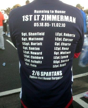 The twelve-member team that ran the Marine Corps Marathon in Washington, D.C., on Oct. 30, 2011, wore shirts in honor of Marine 1st Lt. James Zimmerman, a Smyrna native who was killed in Afghanistan on Nov. 2, 2010. His wife, Lynel Winters, signed up for the marathon six months after his death and recruited a team of friends and colleagues of the couple to join her.
