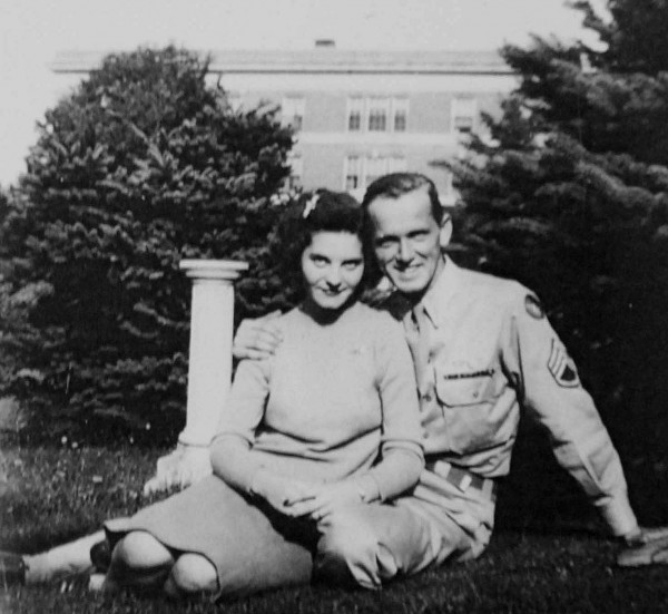In summer 1944, Army Staff Sgt. Wayne Dennison of East Machias and his sweetheart, Winona Mitchell, snuggled on the lawn at Washington County Normal School, now the University of Maine at Machias. Wayne was 20 when he completed flying 35 bombing missions against targets in Germany-occupied Europe. Winona was a student at WCNS when this photo was taken.