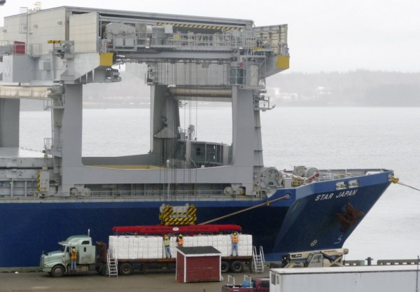 Dwarfed by the large cargo ship Star Japan, a tractor-trailer on the pier at the port of Eastport on Tuesday is readied to transfer onto the ship its load of pulp packages from Domtar in Baileyville.