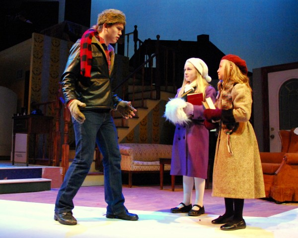 Nic Galinski (from left), Maia Loeb and Kate Fogg rehearse a scene from Penobscot Theatre's &quotA Christmas Story.&quot