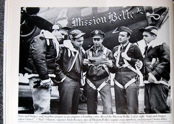 Andy Rooney was on the staff of Stars and Stripes during World War II. He is pictured here second from left.