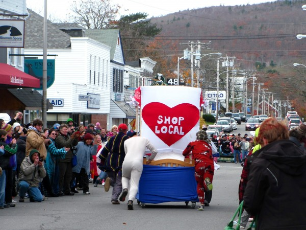 A team from Side Street Cafe in Bar Harbor pushes their bed, dubbed the &quotSide Street Roller,&quot toward the finish line on Saturday, Nov. 12, 2011, during the annual Bar Harbor bed races competition. Although the team did not have the fastest time, they did win the award from the best bed.