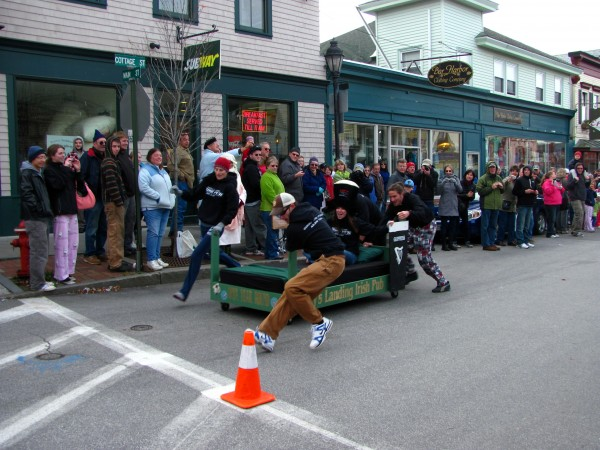 Four bed racers from Leary's Landing Irish Pub in Bar Harbor prepare to make the U-turn at the halfway point of the annual Bar Harbor bed races competition on Saturday, Nov. 12, 2011. This is the fourth year the races have been held as part of a Bar Harbor Chamber of Commerce event aimed at drawing business to town during the off-season.