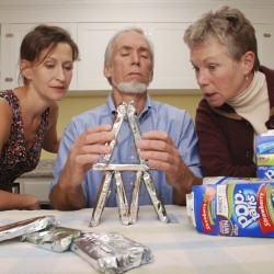 """Rehearsing a scene from William Nelson's new play, """"The Beeches,"""" are (from left) Becky Brimley, Mike Fletcher and Diane Coller Wilson. The play will be presented as a staged reading Friday and Saturday, Nov. 11-12, at The Playhouse, 107 Church St., Belfast."""
