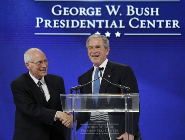 Former President George W. Bush, right, shakes hands with former Vice President Dick Cheney after Cheney introduced Bush during the groundbreaking ceremony for the President George W. Bush Presidential Center in Dallas in 2010.