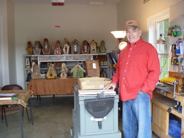 Ken St. John of Bangor builds birdhouses in his garage. Some have copper roofs and vintage doorknob and backplate details.