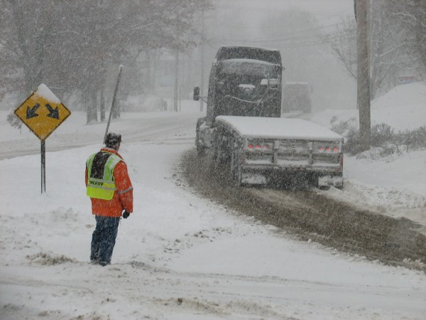 A truck struggles to get up Bridge Hill on Route 1 in Ellsworth during a snowstorm on Wednesday, Nov. 23, 2011. Several inches fell Wednesday morning in interior Hancock County, and much of the state, causing multiple accidents but no reported serious injuries, according to Hancock County area dispatchers.